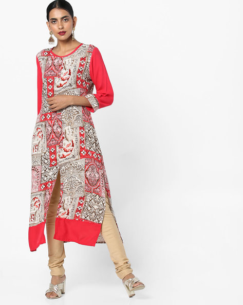 Printed Kurta With Front Slit By Shree ( Red )