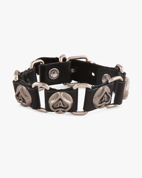 Faux Leather Bracelet With Metallic Hardware By ALPHA MAN ( Black )
