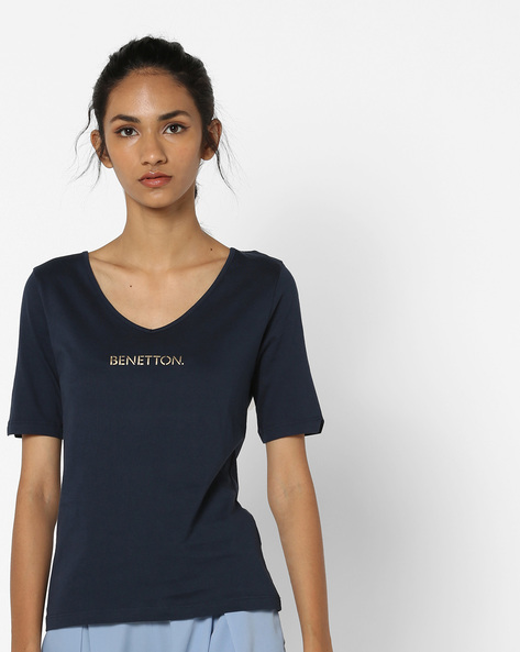 Cotton T-shirt With Printed Branding By UNITED COLORS OF BENETTON ( Navyblue ) - 460140890015