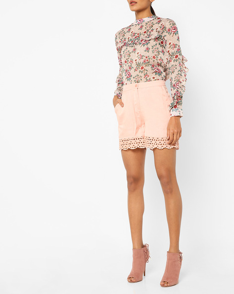 Mid-Rise Shorts With Scalloped Hems By AJIO ( Lightpink )