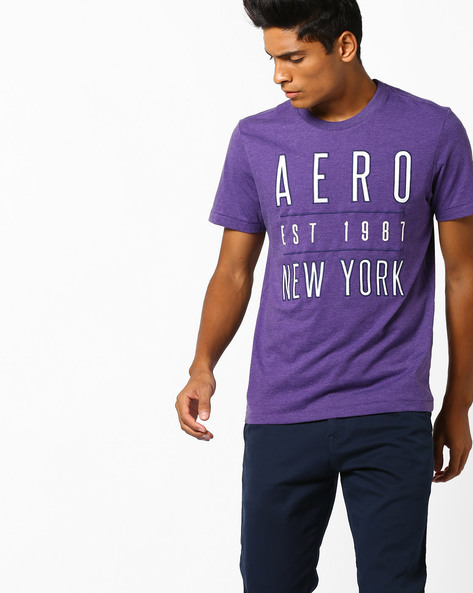 Crew-Neck T-shirt With Text Embroidery By Aeropostale ( Purple )