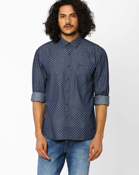 Regular Fit Printed Shirt By Pepe Jeans ( Blue )