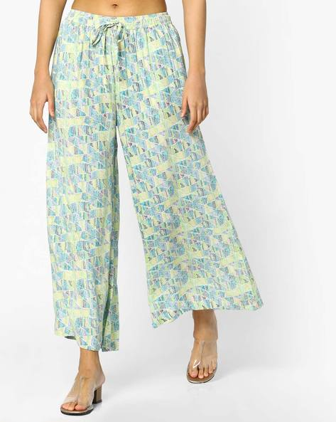 Geometric Print Culottes With Tie-Up By Project Eve IW Casual ( Yellow )