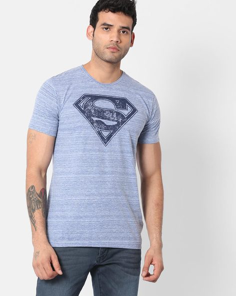 Superman Print Crew-Neck T-shirt By Free Authority ( Darkblue )