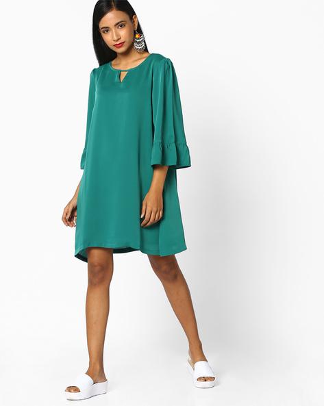 A-line Dress With Tie-Ups By AJIO ( Green )