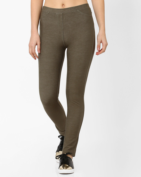 Slim Fit Ankle-Length Jeggings By Vero Moda ( Green )