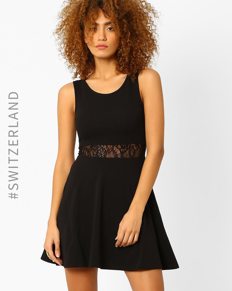 Skater Dress With Lace Insert By TALLY WEiJL ( Black )