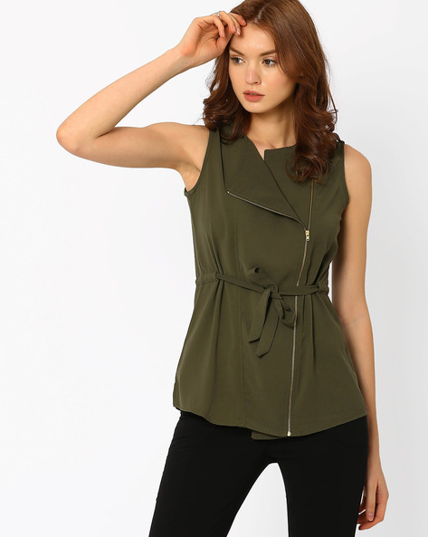 Sleeveless Wrap Jacket By AJIO ( Olive )