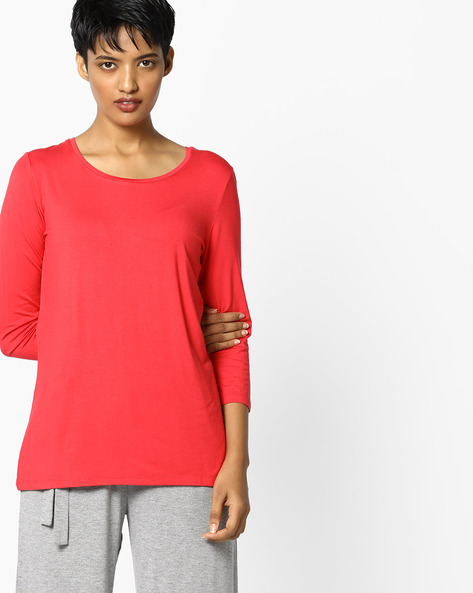 Knitted Top With 3/4th Sleeves By PE WW Casual ( Red )