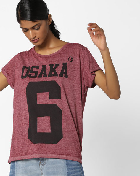 Typographic Print High-Low T-shirt By SUPERDRY ( Zcl )