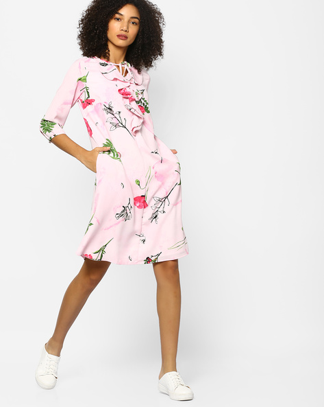 Floral Dress With Tie-Up Neckline By Project Eve WW Casual ( Pink )