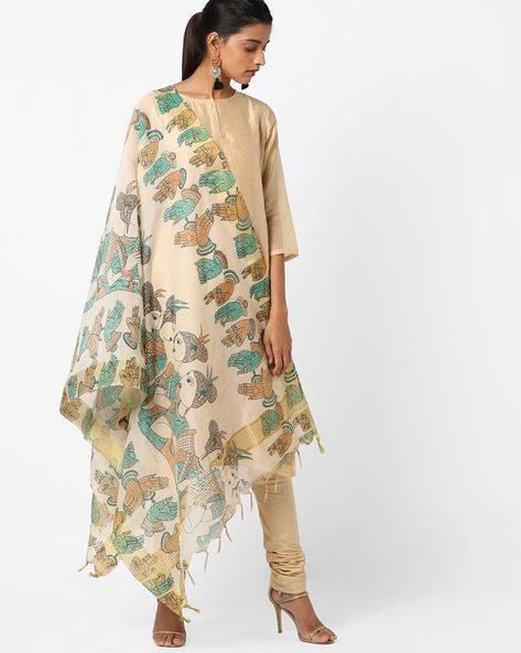 Printed Cotton Silk Dupatta With Tassels By Dupatta Bazaar ( Green )