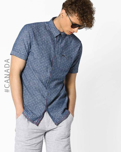 Printed Semi-Fit Shirt With Patch Pocket By Point Zero ( Moon )