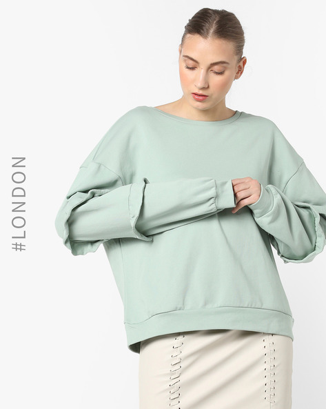 Cotton Sweatshirt With Tiered Ruffle Sleeves By Glamorous ( Mint )