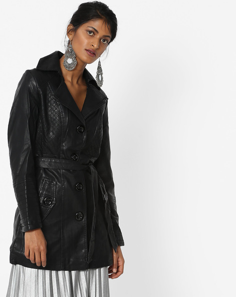 Panelled Trench Coat With Tie-Up By The Indian Garage Co ( Black )