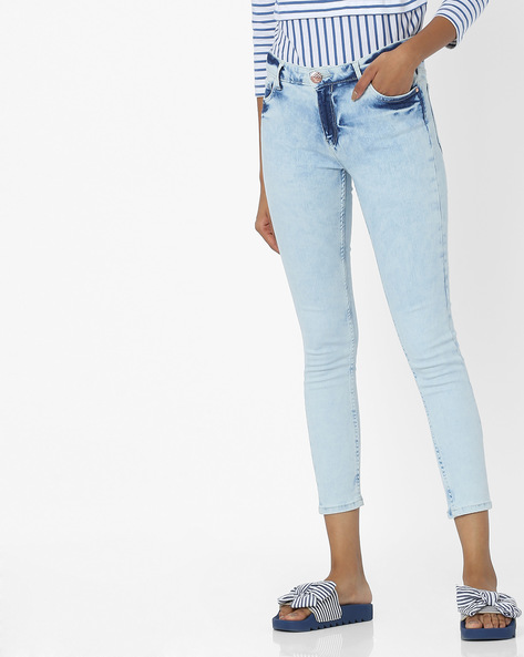 Mid-Rise Skinny Cropped Jeans By Tokyo Talkies ( Blue )