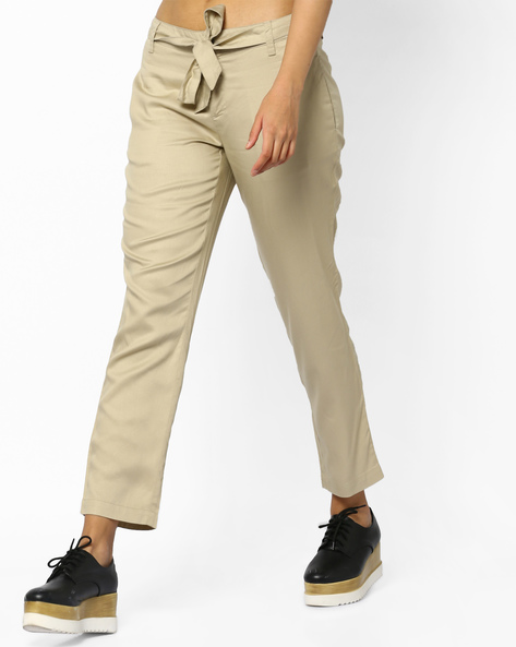 Ankle-Length Pants With Tie-Up By Project Eve WW Casual ( Beige )