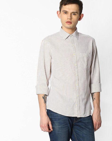 Vertical Striped Linen Shirt By NETWORK ( Khaki )