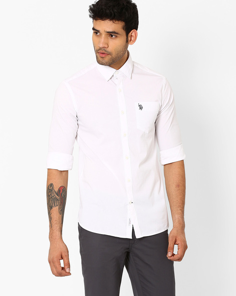 Standard Fit Cotton Shirt By US POLO ( White )