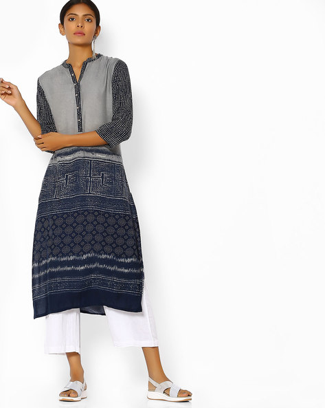Printed Straight Kurta With Button Placket By Shree ( Navyblue )
