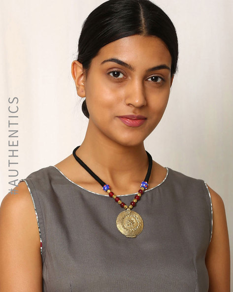 Handcrafted Dhokra Brass Necklace By Indie Picks ( Multi ) - 460016913001