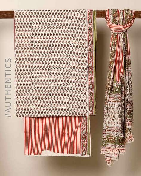 Bagru Handblock Print Cotton 3-Piece Dress Material By Indie Picks ( Red )