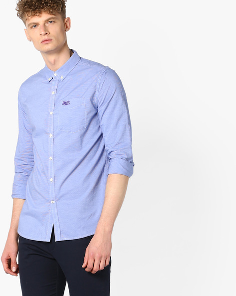 Striped Shirt With Curved Hem By SUPERDRY ( Upq )