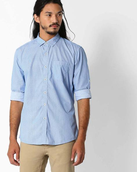 Regular Fit Printed Shirt By NETPLAY ( Blue )