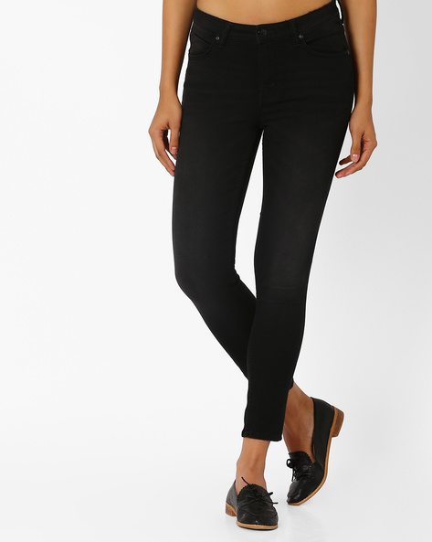 Cropped Skinny Jeans By Lee ( Black )