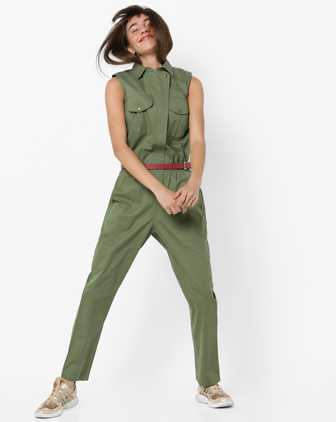 Sleeveless Jumpsuit With Detachable Belt By AJIO ( Olive )