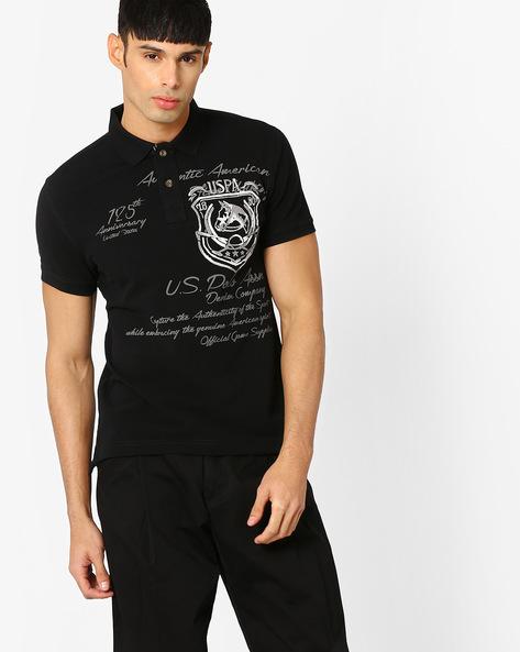 Printed Slim Fit Polo T-shirt By US POLO ( Black )