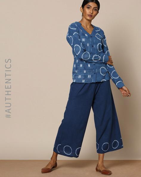 Hand-Dyed Shibori Indigo Cotton Shirt By ANANDA ( Indigo )