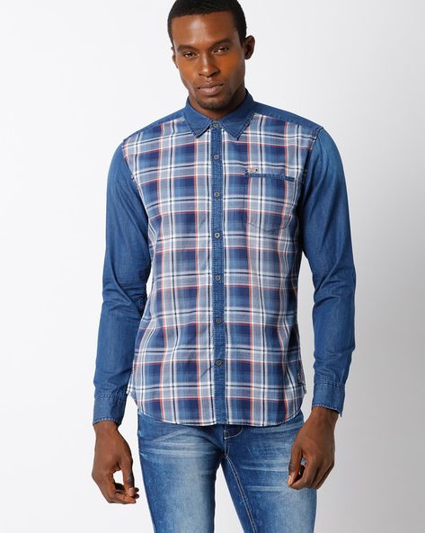 Slim Fit Checked Shirt With Patch Pocket By DNM X ( Navy )