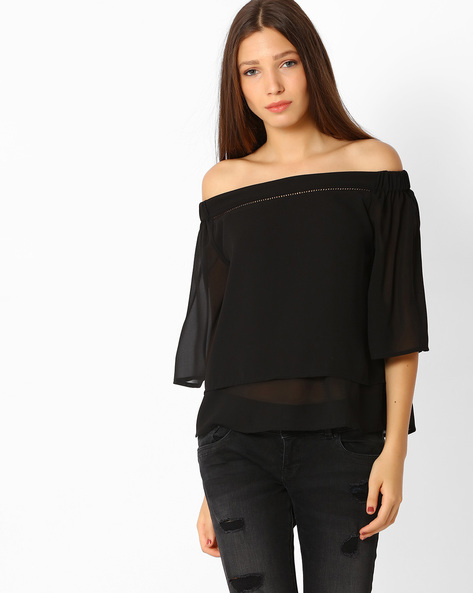 Off-Shoulder Layered Top By Femella ( Black )