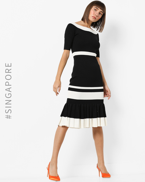 Knit Midi Dress With Boat Neck By MDS ( Black )