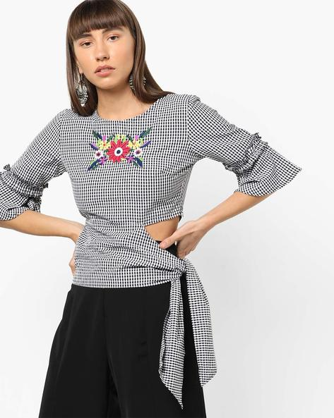 Gingham Check Top With Floral Embroidery By AJIO ( Black )