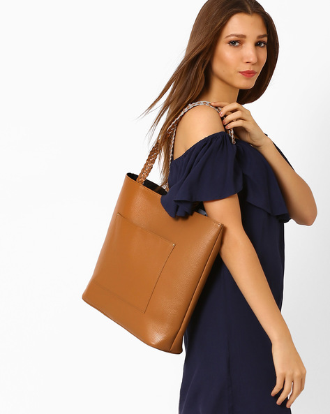 Tote Bag With Braided Handles By AJIO ( Tan )