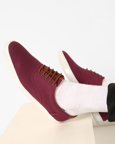 Low-Top Lace-Up Casual Shoes By AJIO ( Bordo )