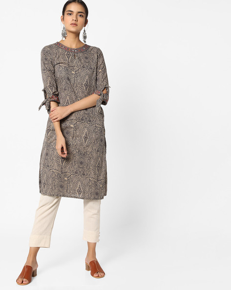 Straight Kurta With Sleeve Tie-Ups By AJIO ( Charcoal )