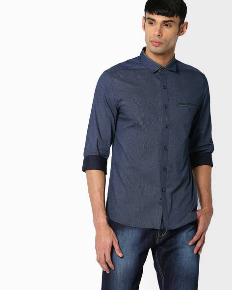 Regular Fit Printed Shirt By NETPLAY ( Navy )