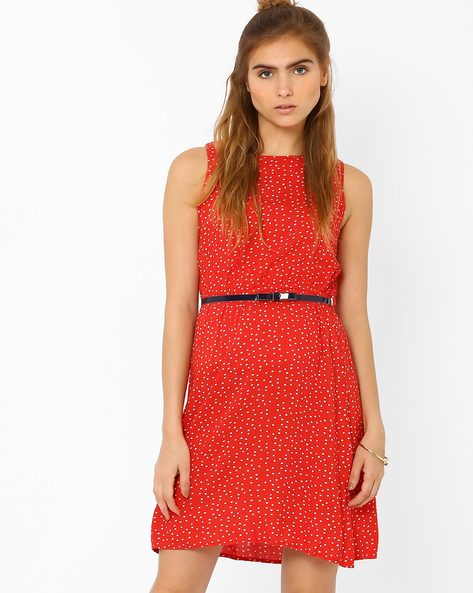 Polka Print Sleeveless Dress With Belt By CHM ( Red )