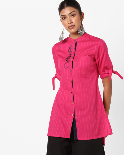 Tunic With Patch Pocket By AJIO ( Fuchsia )