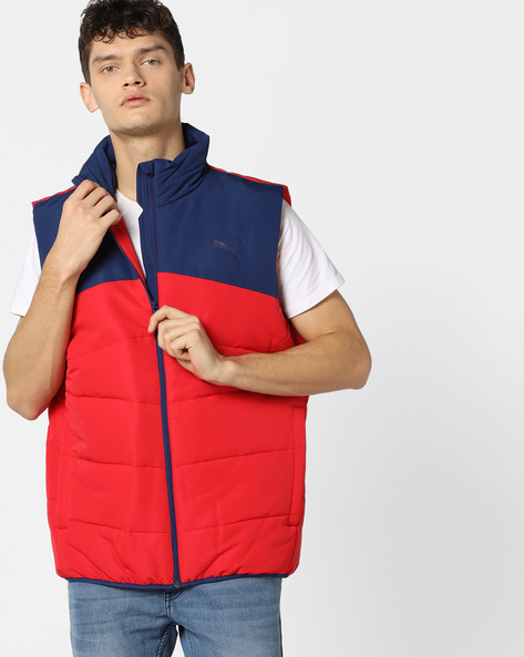 Colourblock Quilted Jacket By Puma ( Red )