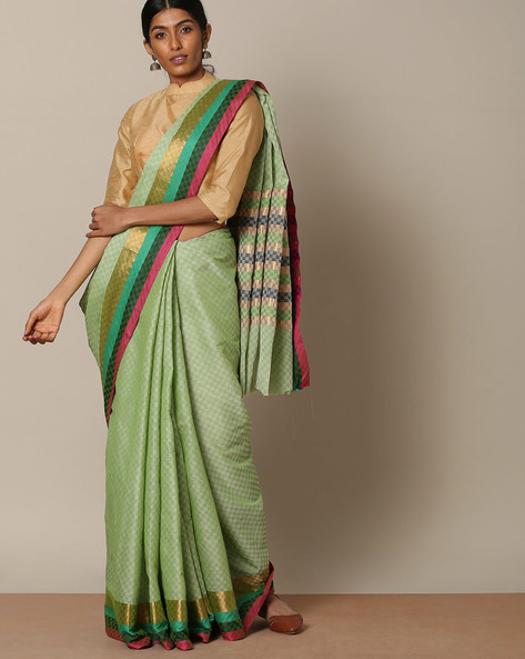 Kanchi Textured Cotton Saree With Zari Border By Indie Picks ( Green ) - 460123668001