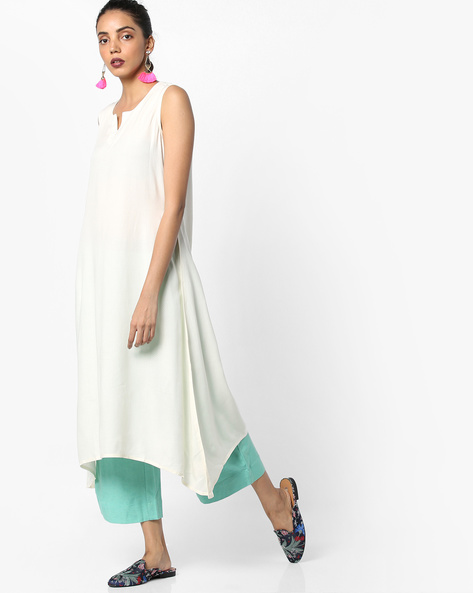 Straight Kurta With Asymmetrical Hem By Project Eve IW Casual ( Natural )
