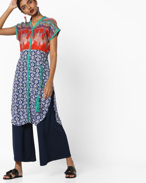 All-Over Print Panelled Straight Kurta By Juniper ( Blue )