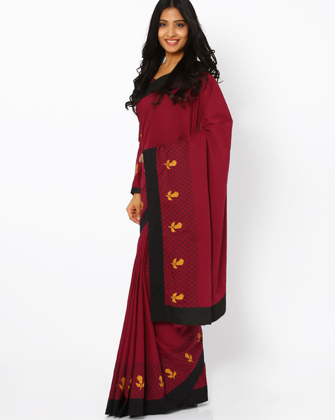 Block Print Saree By AJIO ( Maroon )