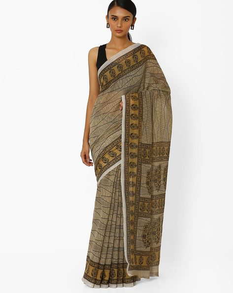 Printed Saree With Contrast Border By Akoya ( Lightgreen )