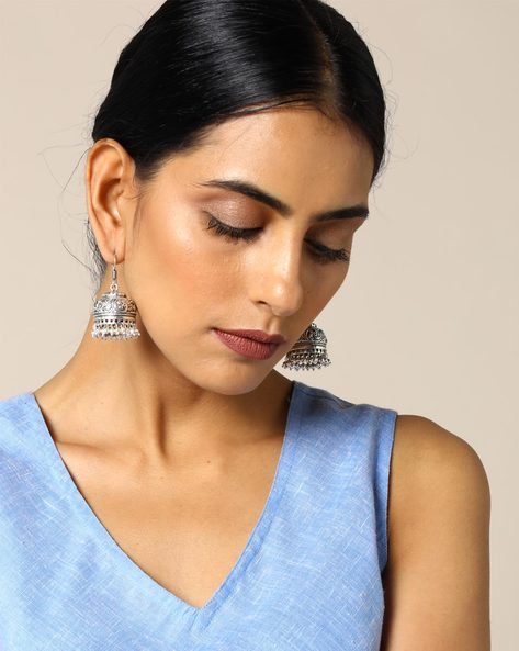 Brass Jhumka Earrings By Studio B40 ( Goldensilver ) - 460095212001