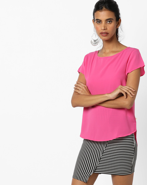 High-Low Top With Curved Hemline By UNITED COLORS OF BENETTON ( Pink )